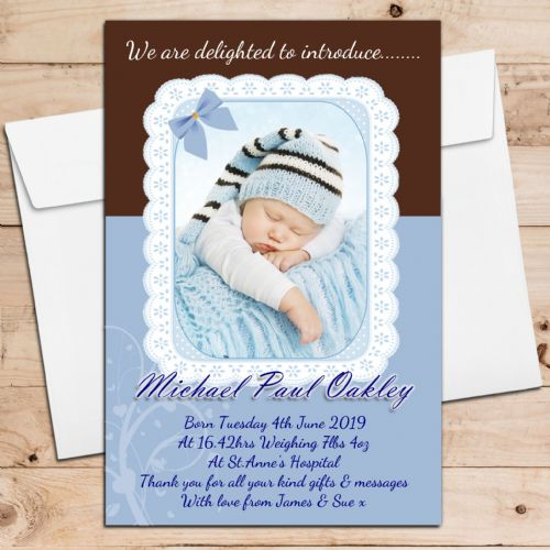 10 Personalised Baby Boy Birth Announcement Thank You PHOTO cards N105